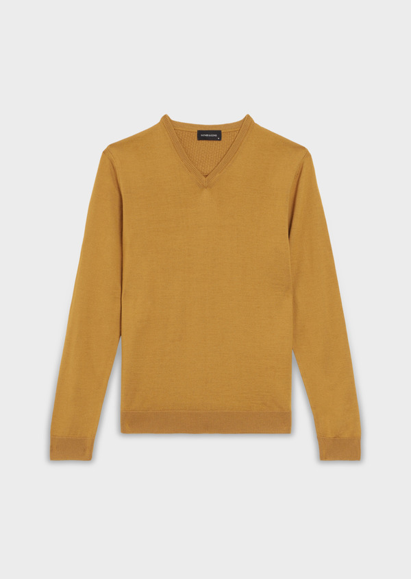 Pull en laine Mérinos mélangée col V uni jaune moutarde - Father and Sons 36506