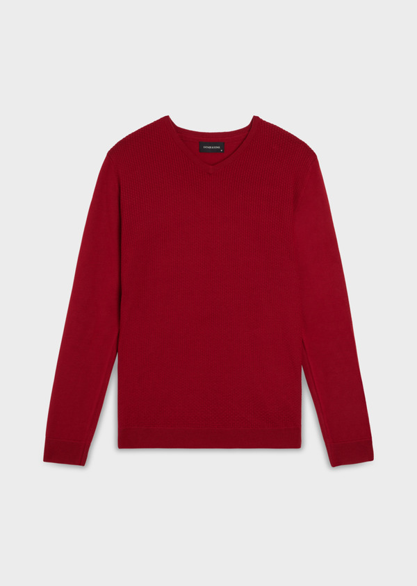 Pull en laine Mérinos mélangée col V uni rouge - Father and Sons 35355