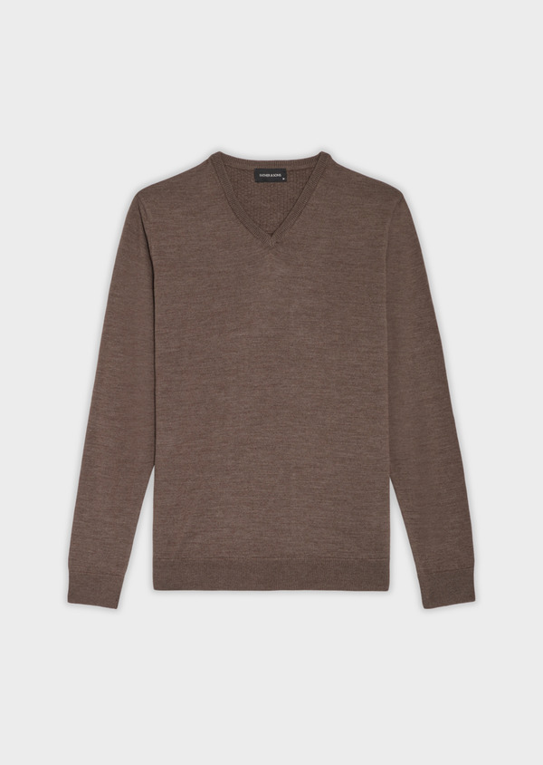 Pull en laine Mérinos mélangée col V uni taupe - Father and Sons 36981