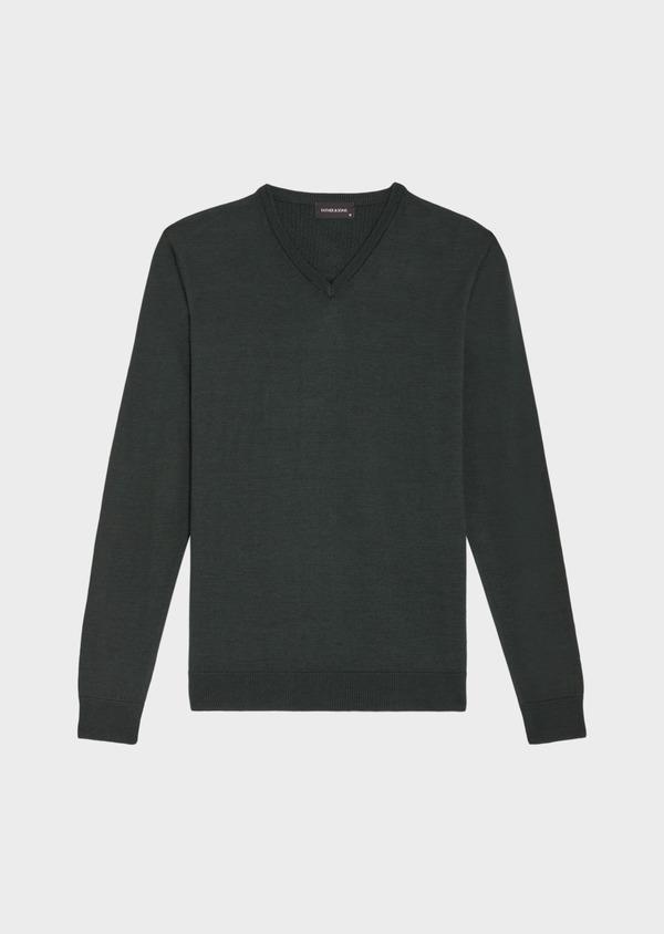 Pull en laine Mérinos mélangée col V uni vert - Father and Sons 36986