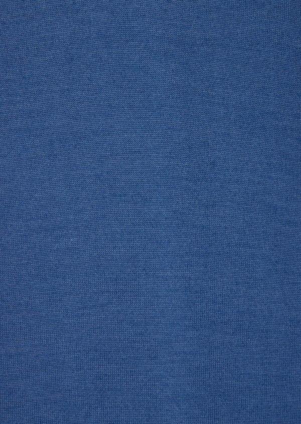 Pull en laine Mérinos mélangée col zippé uni bleu - Father and Sons 37002