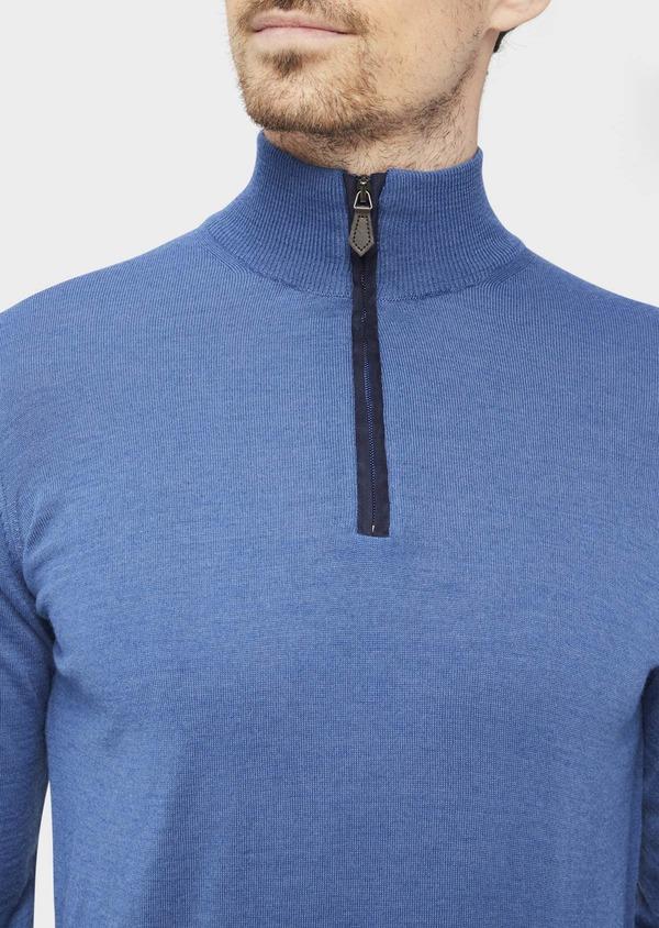 Pull en laine Mérinos mélangée col zippé uni bleu - Father and Sons 37005