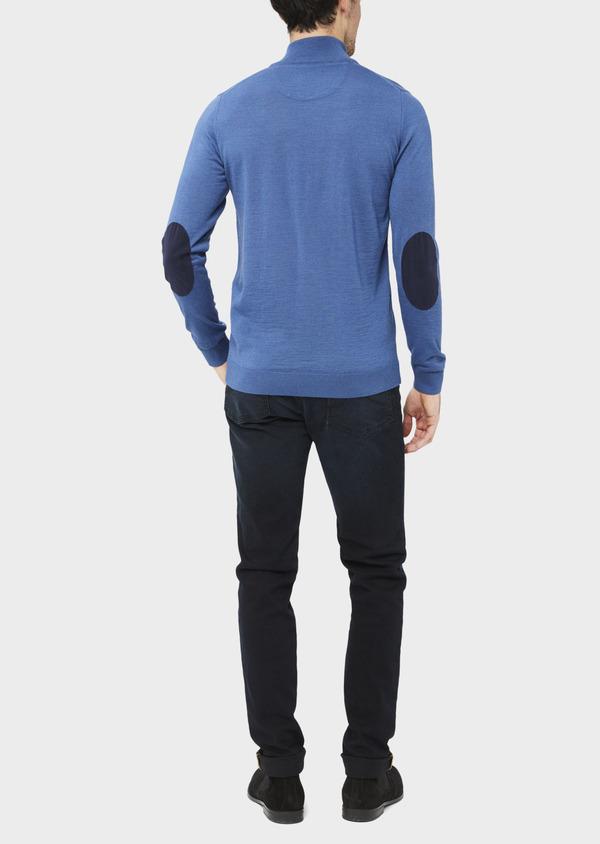 Pull en laine Mérinos mélangée col zippé uni bleu - Father and Sons 37004
