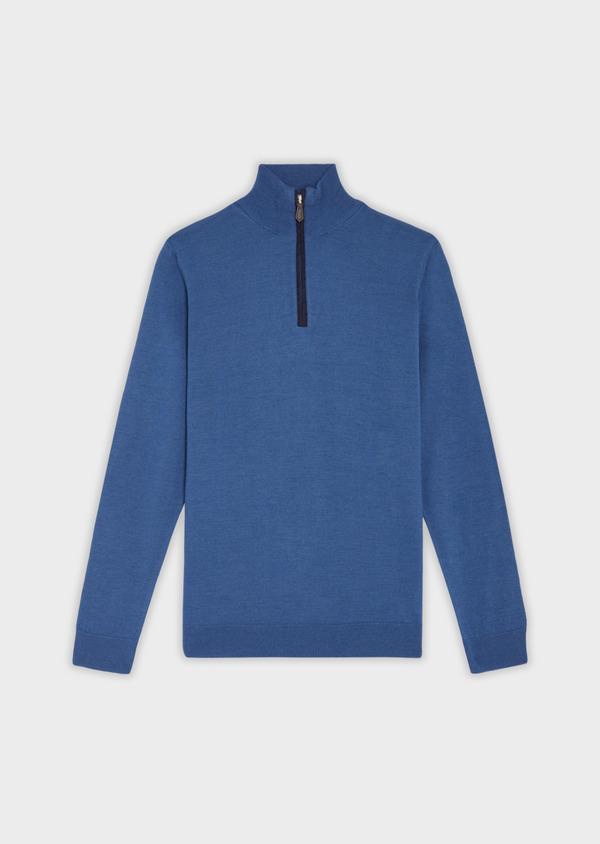 Pull en laine Mérinos mélangée col zippé uni bleu - Father and Sons 37001