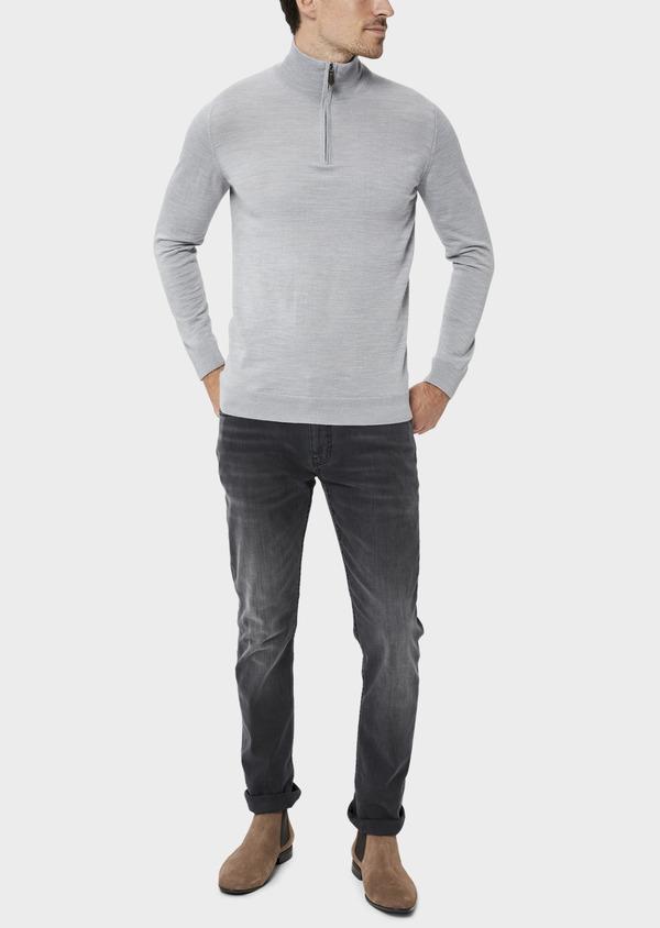 Pull en laine Mérinos mélangée col zippé uni gris clair - Father and Sons 35364