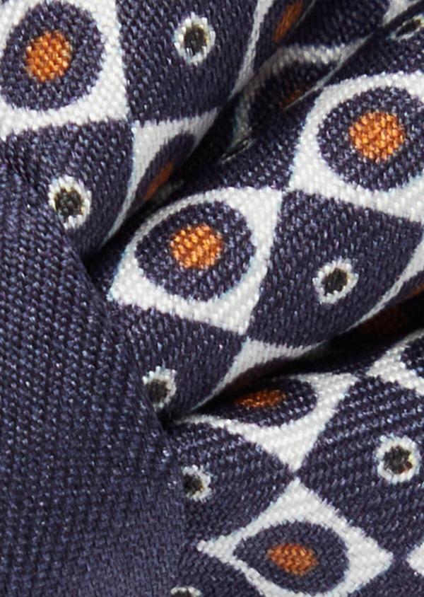Noeud-papillon à motif fantaisie bleu marine et blanc - Father and Sons 38252