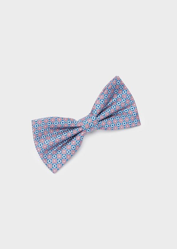 Noeud-papillon à motifs géométriques rose et bleu - Father and Sons 40220