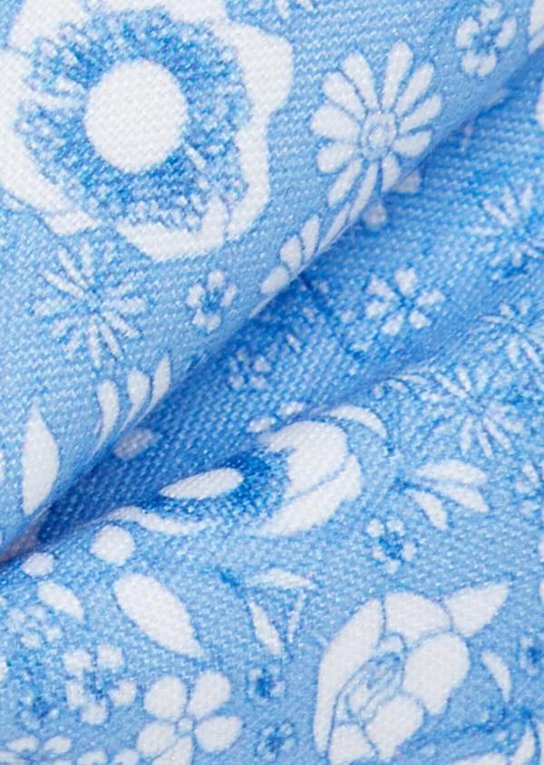 Noeud-papillon bleu à motif fleuri blanc - Father and Sons 38248