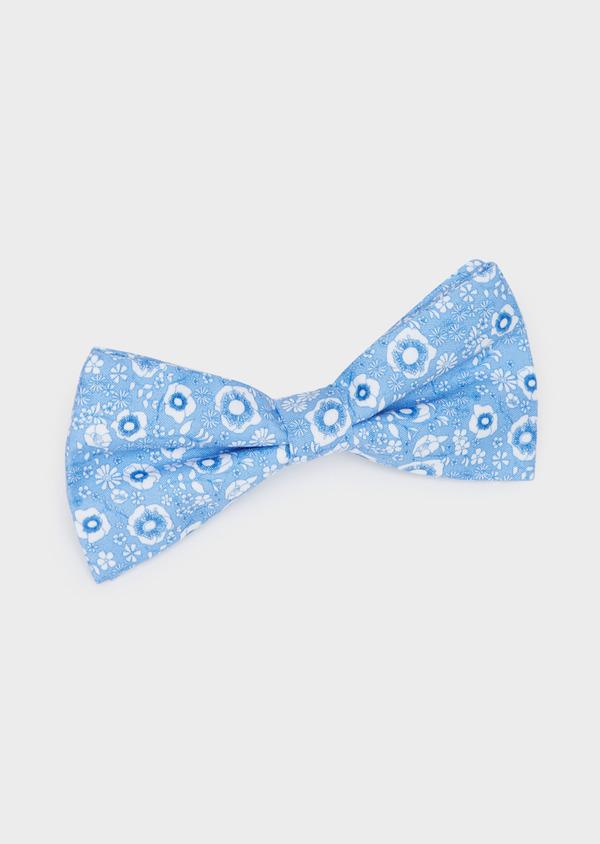 Noeud-papillon bleu à motif fleuri blanc - Father and Sons 38247