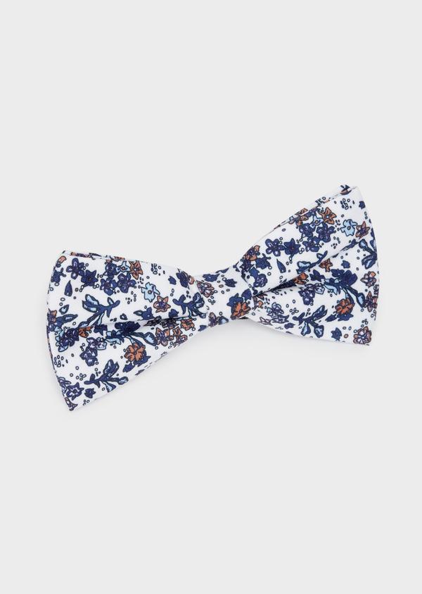 Noeud-papillon blanc à motif fleuri bleu indigo et orange - Father and Sons 38233