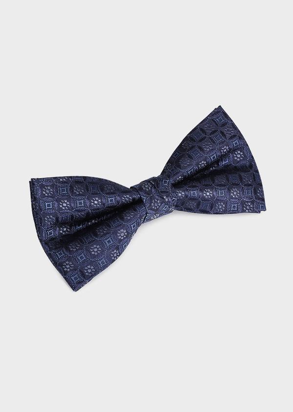 Noeud-papillon en soie bleue à motif fantaisie - Father and Sons 33248