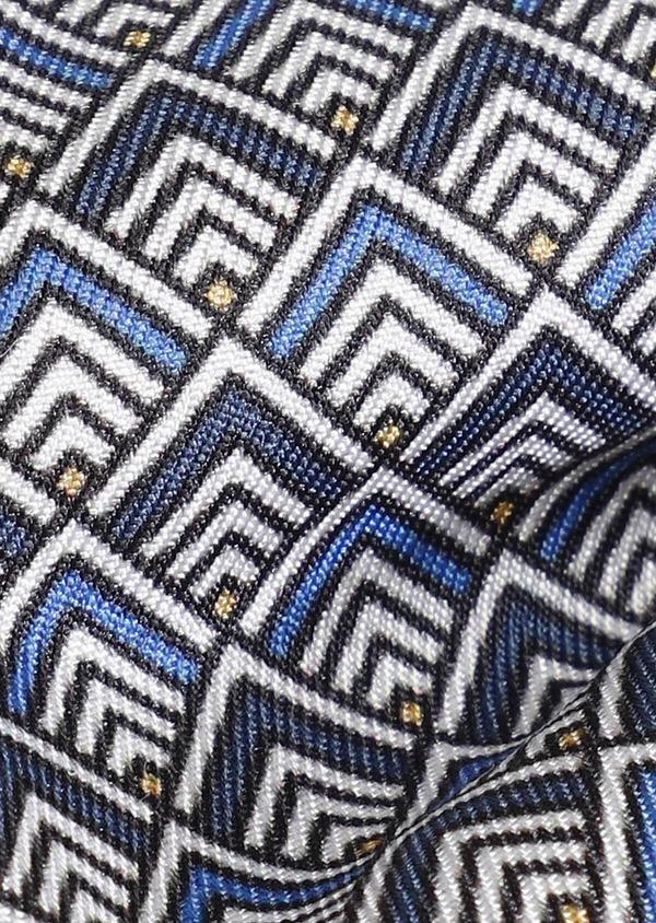 Noeud-papillon en soie bleue à motif fantaisie marron - Father and Sons 33233