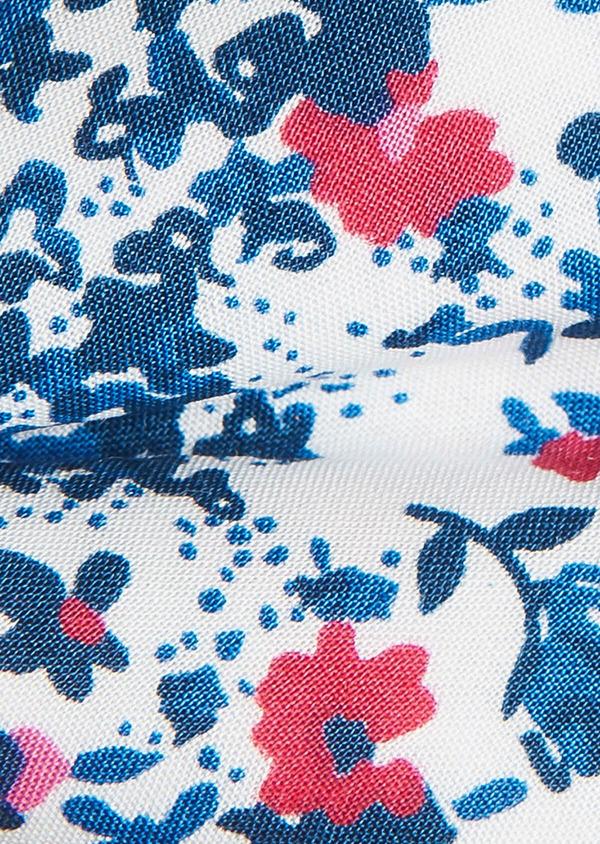 Noeud-papillon en coton blanc à motif fleuri bleu foncé et rose - Father and Sons 33211