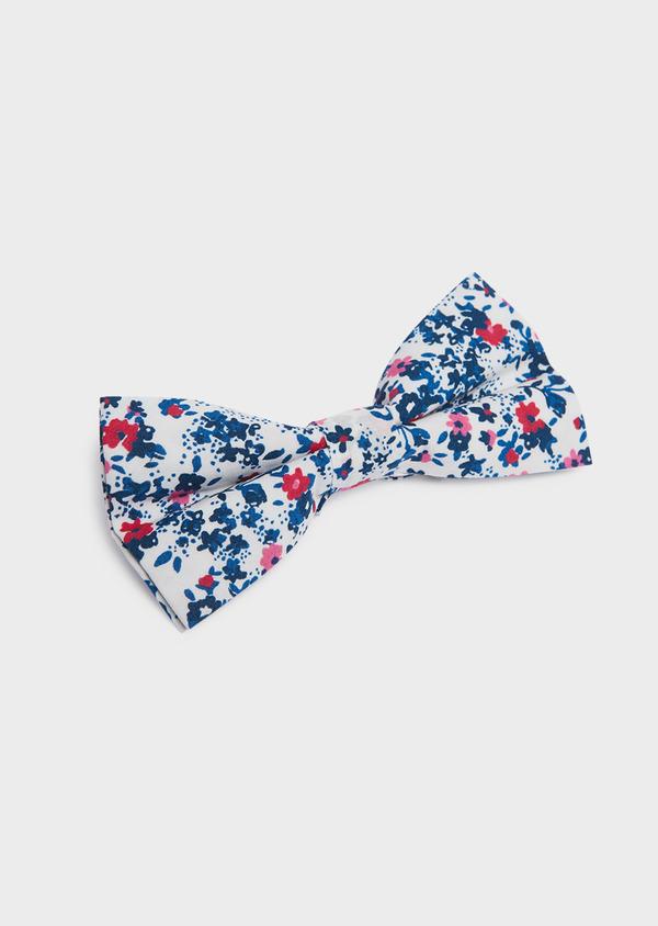 Noeud-papillon en coton blanc à motif fleuri bleu foncé et rose - Father and Sons 33210