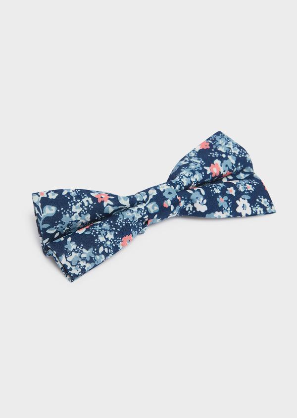 Noeud-papillon en coton bleu foncé à motif fleuri bleu et rose - Father and Sons 33214