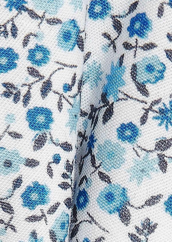 Noeud-papillon en coton blanc à motif fleuri bleu - Father and Sons 33221