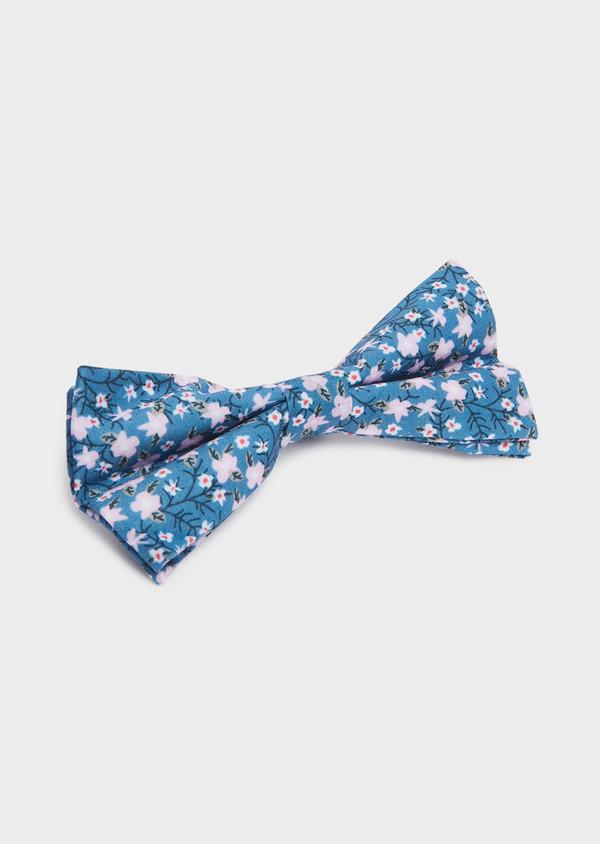 Noeud-papillon en coton bleu à motif fleuri rose pâle - Father and Sons 33222