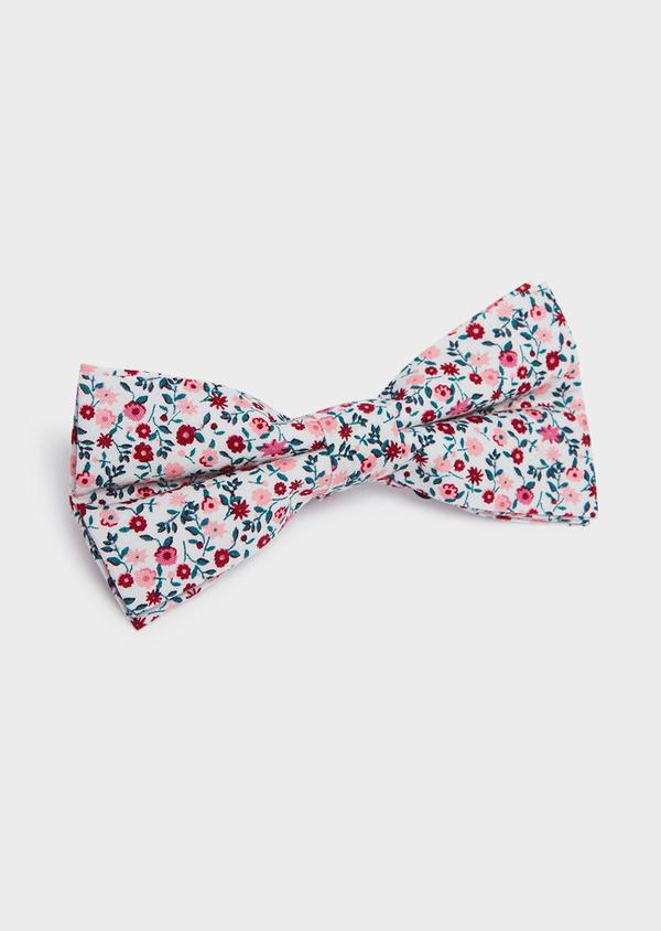 Noeud-papillon en coton gris clair à motif fleuri rose et rouge - Father and Sons 33218