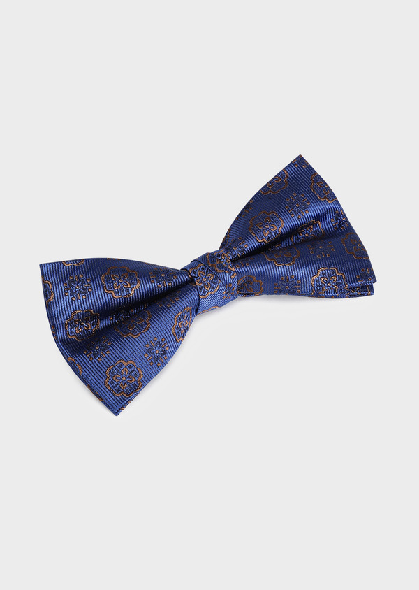 Noeud-papillon en soie bleu indigo à motif fleuri marron - Father and Sons 33246