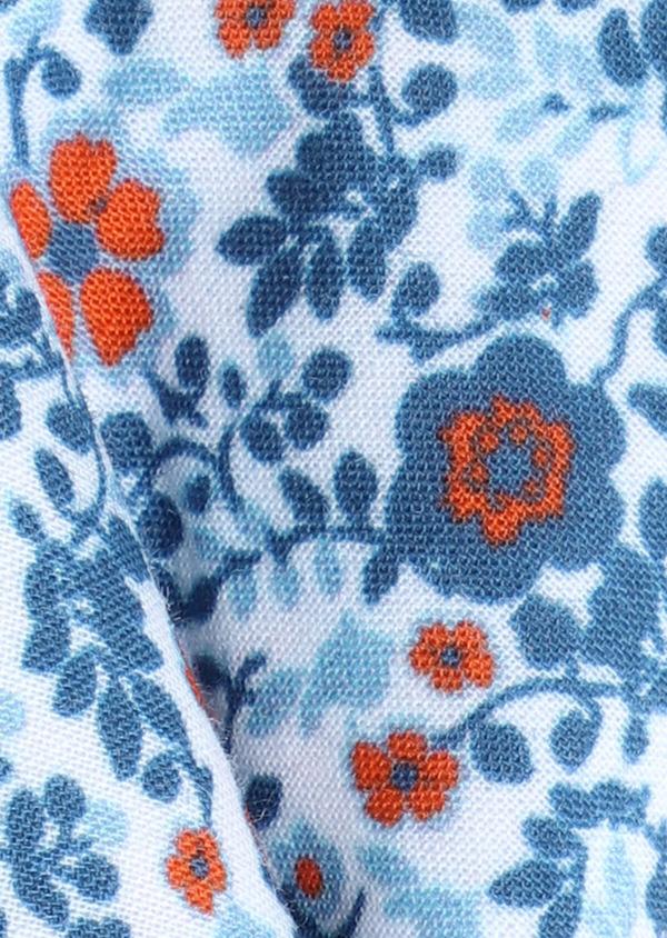 Noeud-papillon en coton à motif fleuri bleu marine et orange - Father and Sons 33217
