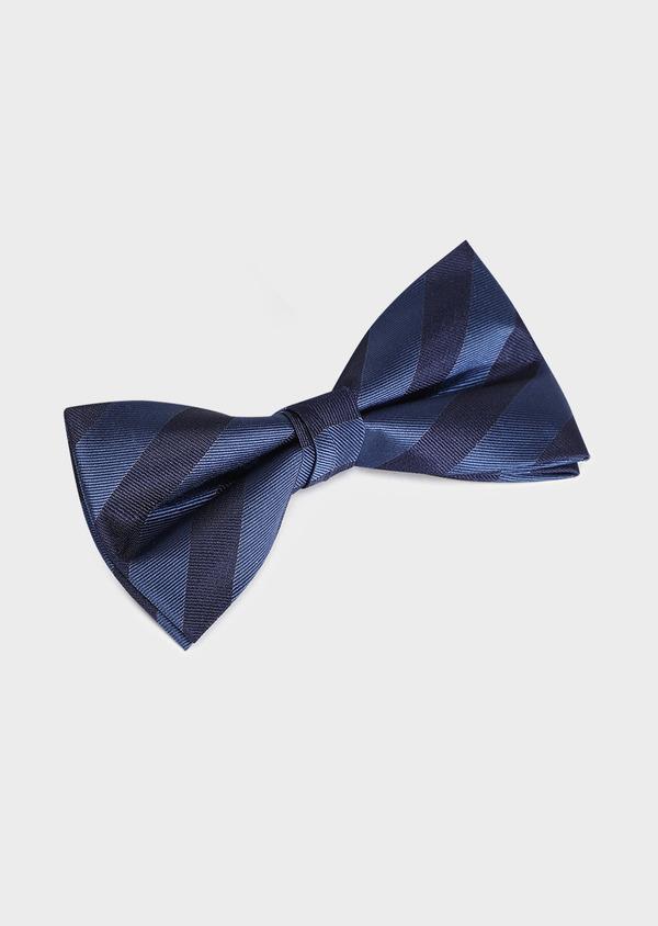 Noeud-papillon en soie bleu marine à rayures - Father and Sons 33240