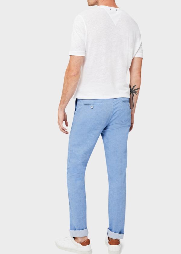 Pantalon casual skinny en coton strech uni bleu - Father and Sons 40617