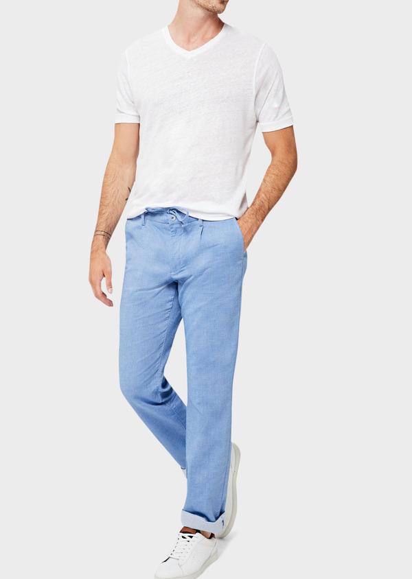 Pantalon casual skinny en coton strech uni bleu - Father and Sons 40616
