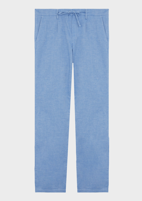 Pantalon casual skinny en coton strech uni bleu - Father and Sons 40614