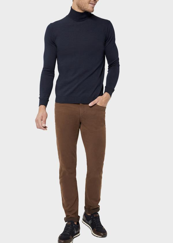 Pantalon casual skinny en coton stretch uni marron - Father and Sons 36133
