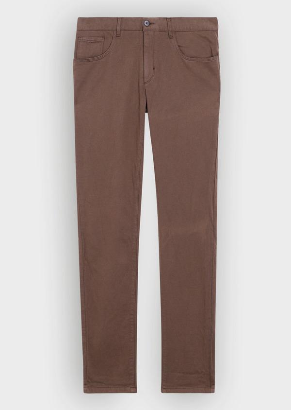 Pantalon casual skinny en coton stretch uni marron - Father and Sons 36131