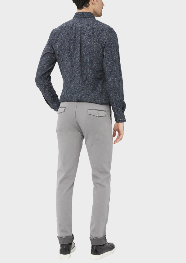 Pantalon casual skinny en coton stretch uni gris - Father and Sons 37056