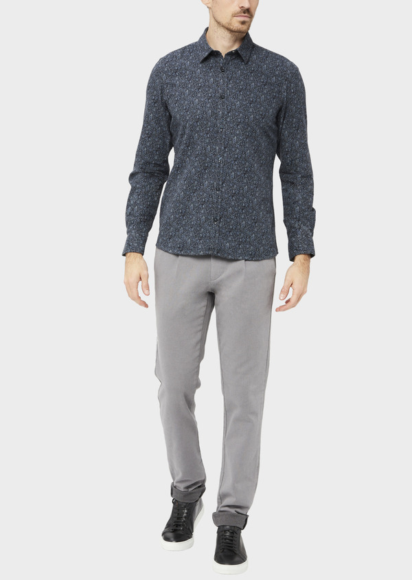 Pantalon casual skinny en coton stretch uni gris - Father and Sons 37055