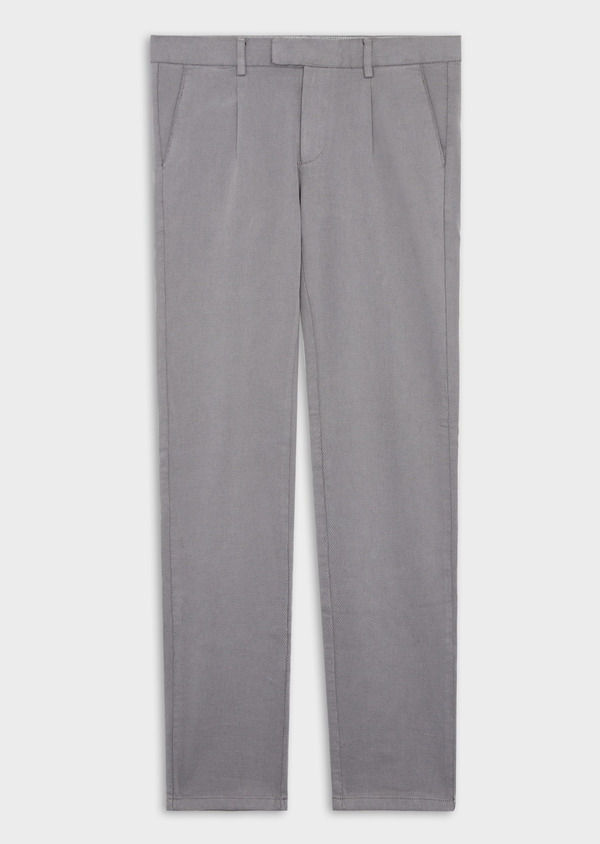 Pantalon casual skinny en coton stretch uni gris - Father and Sons 37053