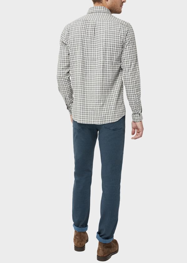 Pantalon casual skinny en coton stretch uni bleu - Father and Sons 36126