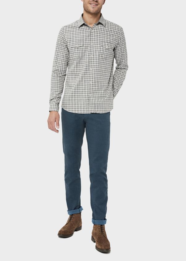 Pantalon casual skinny en coton stretch uni bleu - Father and Sons 36125