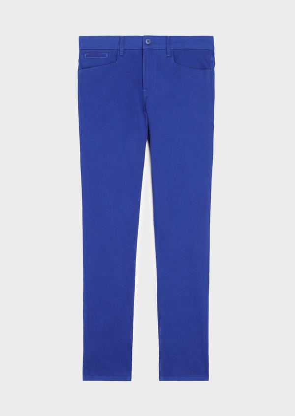 Pantalon casual skinny en coton stretch uni bleu - Father and Sons 37313