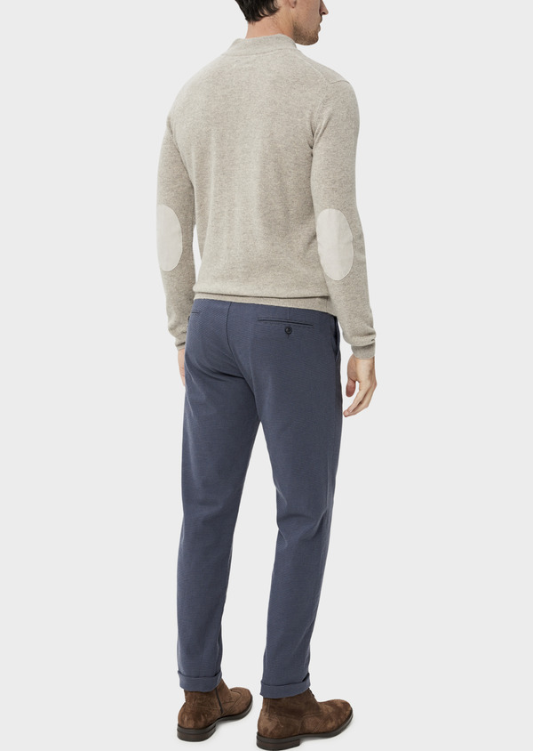 Pantalon casual skinny en coton stretch à motif fantaisie bleu chambray - Father and Sons 35866