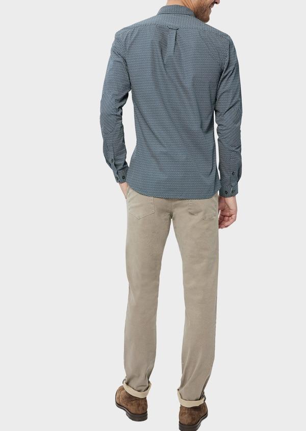 Pantalon casual skinny en coton stretch à motif fantaisie beige - Father and Sons 36122