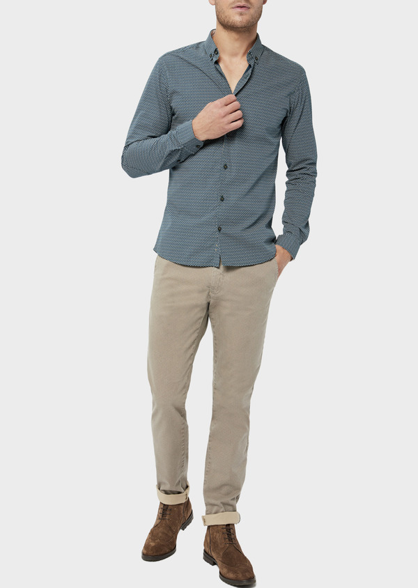 Pantalon casual skinny en coton stretch à motif fantaisie beige - Father and Sons 36121