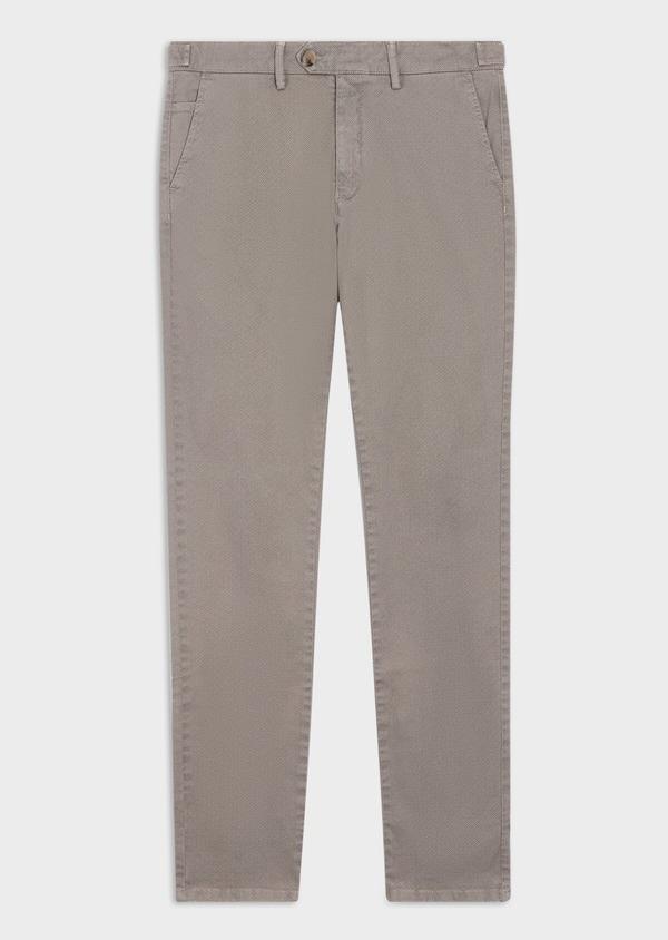 Pantalon casual skinny en coton stretch à motif fantaisie beige - Father and Sons 36119