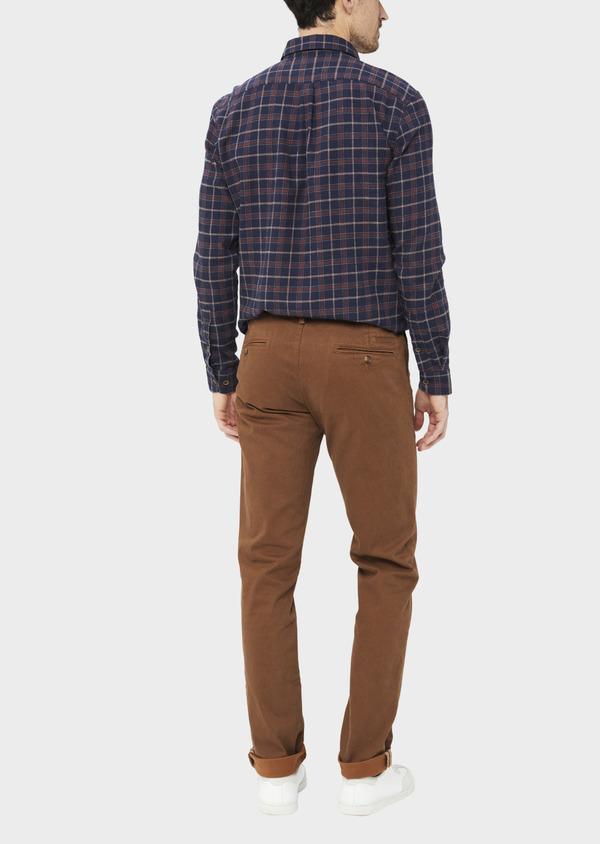 Chino slack skinny en coton stretch à motif fantaisie marron - Father and Sons 36787