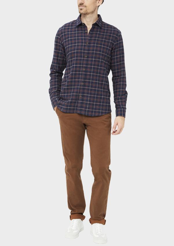 Chino slack skinny en coton stretch à motif fantaisie marron - Father and Sons 36786