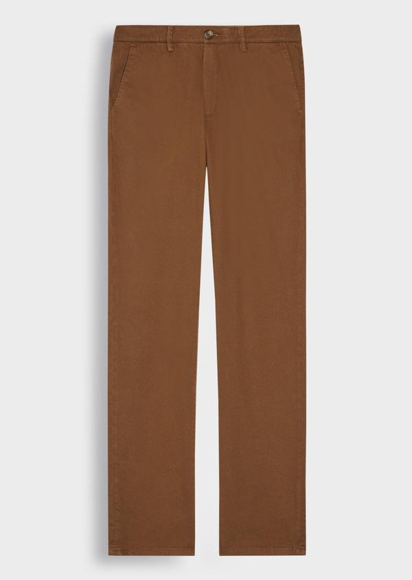 Chino slack skinny en coton stretch à motif fantaisie marron - Father and Sons 36784