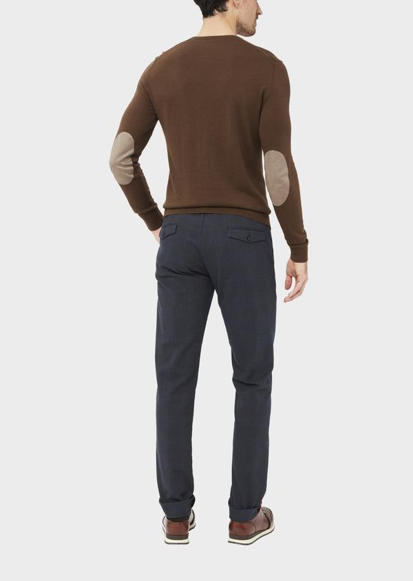 Chino slack skinny en coton stretch bleu nuit Prince de Galles - Father and Sons 36783