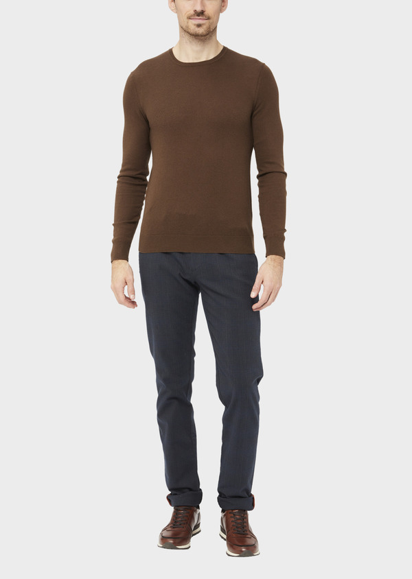 Chino slack skinny en coton stretch bleu nuit Prince de Galles - Father and Sons 36782