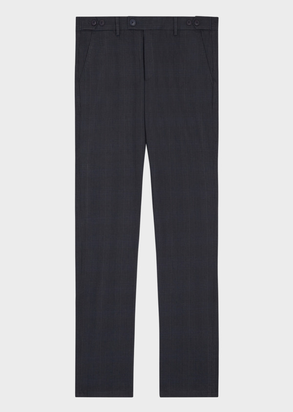 Chino slack skinny en coton stretch bleu nuit Prince de Galles - Father and Sons 36780