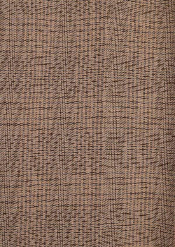 Pantalon casual skinny en coton stretch camel Prince de Galles - Father and Sons 36136