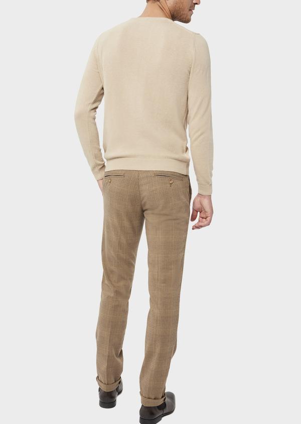 Pantalon casual skinny en coton stretch camel Prince de Galles - Father and Sons 36138