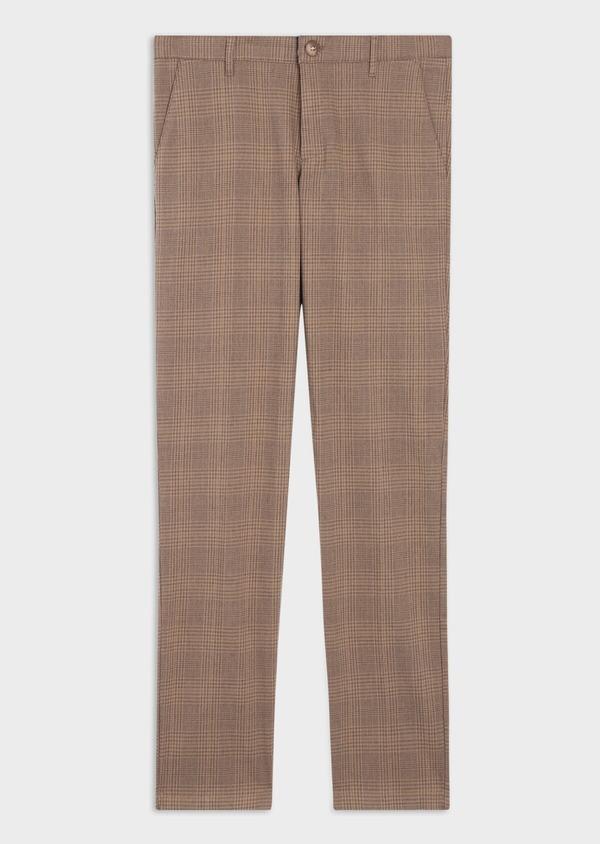 Pantalon casual skinny en coton stretch camel Prince de Galles - Father and Sons 36135