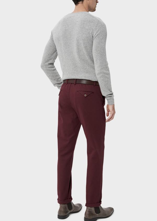 Pantalon casual skinny en coton stretch uni bordeaux - Father and Sons 35395